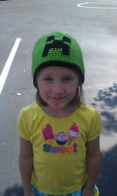 Handmade Crocheted MineCraft Creeper Hat by theoldspinsterlady1, $17.99