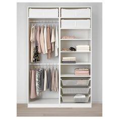 PAX Wardrobe - white Hokksund, high gloss dark blue black-blue - IKEA