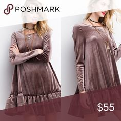 COMING SOON... S M L Velvet Mushroom Dress The color of the dress is mushroom. This dress screams fall! Looks adorable with peep toe booties. Dresses Long Sleeve