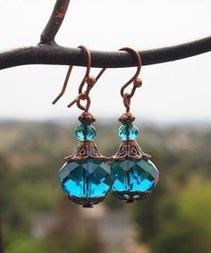 Boho Treasures by Wise Creations Teal Crystal & Coppertone Drop Earrings Wire Jewelry, Jewelry Crafts, Jewelry Art, Beaded Jewelry, Vintage Jewelry, Jewelry Design, Jewellery, Jewelry Ideas, Earrings Handmade