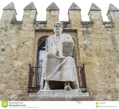 Philosopher Averroes Statue close to Cordoba Walls