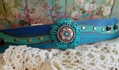 Silver Concho Leather Cuff Bracelet> #Hand-madeLeather #Turquoise #ShadesofBlue #Rustic #Cowgirl #CountryChic…