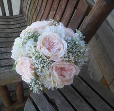 Blush Pink Rose Bridal Bouquet w/ Grooms Boutonniere / Large 15 Silk Bridal Bouquet / Pink Bridal Bouquet / Custom Bridal / Rustic Wedding Hydrangea Bouquet Wedding, Cascading Bridal Bouquets, Silk Bridal Bouquet, Flower Girl Bouquet, Purple Bouquets, Silk Wedding Bouquets, Blush Bouquet, Purple Wedding Flowers, Flower Bouquets