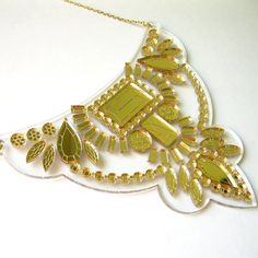 Gold Floating Bib Statement Necklace  Mirror by FabParlor on Etsy, $46.00