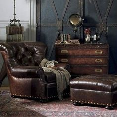 Steampunk interior by Ralph Lauren. Steampunk interior by Ralph Lauren. Steampunk Interior, Casa Steampunk, Steampunk Bedroom, Steampunk Home Decor, Steampunk Furniture, Steampunk Design, Ottoman Furniture, Chair And Ottoman, Leather Furniture
