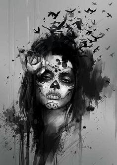 Bildergebnis für santa muerte tattoos black and white Chicano Tattoos, Body Art Tattoos, Girl Tattoos, Sleeve Tattoos, Tatoos, La Catarina Tattoo, Tattoo Sketches, Tattoo Drawings, La Santa Muerte Tattoo