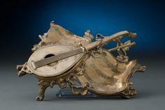 Musical Motif Brass Inkstand