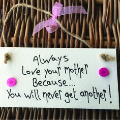 'Always Love Your Mother' Plaque with Pink Buttons - Little Miss Scrabbled