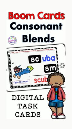"""Phonics is fun and easy to teach during Distance Learning! This no prep, self-checking digital Boom Cards bundle helps students master Consonant """"R"""", """"S"""" & """"L"""" Blend words. Movable answer pieces, type-in text boxes with sound! Boom Cards offer an easy way for teachers to assess mastery of skills. Use these Boom Cards through your interactive whiteboard, with tablets or laptops! #DistanceLearningTpT #Phonics #ConsonantBlends #BestResourceEver #BoomCards #TpT #BoomCardsElementary…"""