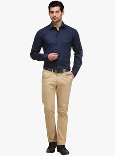 Khaki pant and dark blue shirt is best casual and formal colour combination.