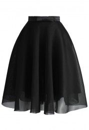Bowknot Mesh A-line Skirt in Black