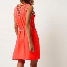 Bright pink lace-up swing dress - swing dresses - dresses - women
