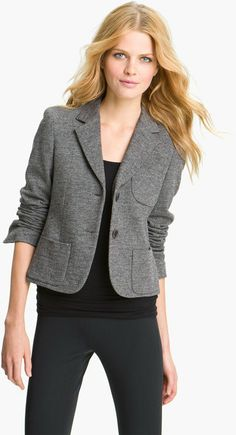 grey shrunken blazer, black tshirt, black jeans