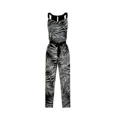 Sleeveless shaded palm print jumpsuit 95% polyester,  5% spandex, drape neckline,  stretch fit, lined bodice, tapered leg, blouson top with banded waist, bust 41 inches, waist 34.5 inches, length 57 inches White House Black Market Pants Jumpsuits & Rompers