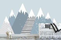 Baby Room Decals, Nursery Wall Murals, Nursery Decals, Wall Decal Sticker, Wall Stickers, Mountain Mural, Accent Walls, Lincoln, Separate
