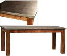 DOV5095 Barnard Table Wood Base Galvanized Sheet Metal W 71 D 36 H 31 $1662.50 #6Foot Writing Desk #Under2K Parsons #4Legs