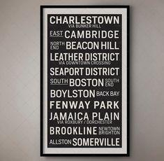 Boston Massachusetts Vintage Transport Art Scroll/Bus Blind 1