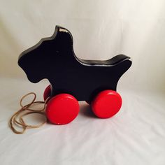 Vintage Wood Dog Pull Toy Terrier Scotty Black Dog by missenpieces