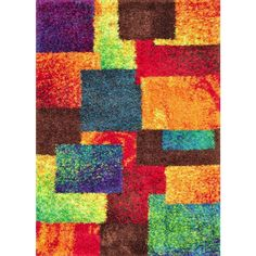 vivid shag area rug in patchwork color