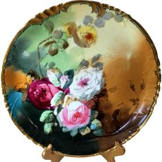 Large Limoges Haviland Hand Painted Rose Charger Plaque