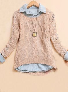 Women's Leopard Print Rib-Knit Cuff Crewneck Pullover Sweater - A New Day™ Heather Gray Mode Outfits, Winter Outfits, Moda Fashion, Womens Fashion, Style Boho, Look Chic, Winter Looks, Mode Style, Autumn Winter Fashion