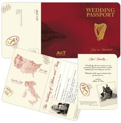 Irish Passport Invitation designed for a couple getting married at Lake Orta, Italy by DestinationStationery.com
