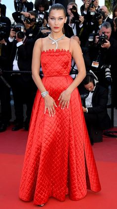 Best Dressed Stars on Cannes Red Carpet 2017 - Bella Hadid in a red quilted Dior Haute Couture dress