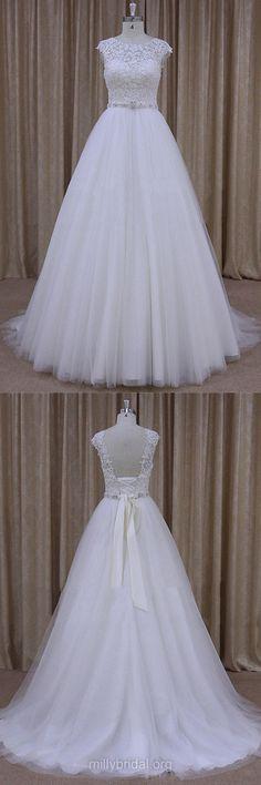 Lace Wedding Dresses, Cap Straps White Bridal Dresses, Cheap Wedding Dresses, White Wedding Dress, A Line Bridal Gowns