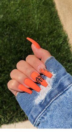 uk acrylic nails - Orange coffin nails - C . Orange Acrylic Nails, Summer Acrylic Nails, Best Acrylic Nails, Yellow Nails, Spring Nails, Summer Nails, Orange Ombre Nails, Acrylic Nail Designs Coffin, Acrylic Nails Kylie Jenner