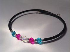 LGBTQ transgender memory wire bracelet with 4mm Swarovski crystals