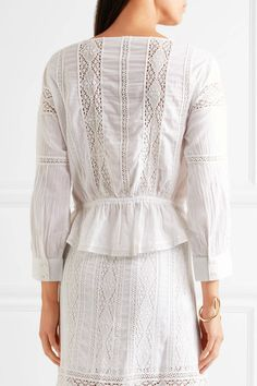 LoveShackFancy - Ellie Crocheted Lace-paneled Cotton Blouse - White - x small