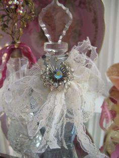 Crystal & Lace & Vintage Jeweled Perfume bottle