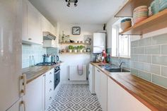 Ideas for kitchen: floor and wooden shelves