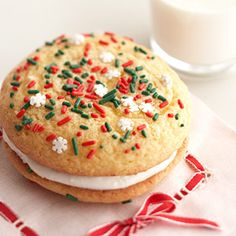 Santa's Easy Whoopie Pies A cake mix and some canned frosting help make these sandwich cookies come together in minutes. Kids can help decorate them with colored sprinkles.