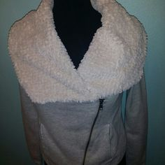 Ann Taylor loft  jacket Light weight ivory fleece super soft collar  short fit zipper is diagonal you can wear zipped up or 1/2 way changes the look cute zipper pockets perfect combination of comfy cozy & chic LOFT Jackets & Coats
