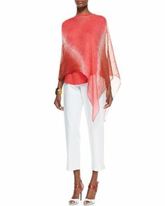 Halo Shibori Linen Poncho, Lightweight Organic V-Neck Top & Slim Ankle Pants by Eileen Fisher at Neiman Marcus.