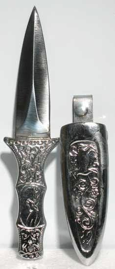 """Engraved Silver Boot Athame 6"""""""