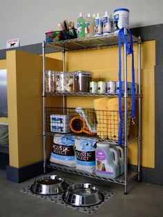 """Decluttering the Garage on HGTV - Consolidate Items such as with this convenient """"pet station""""."""