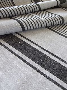 Natural Black Striped Linen Fabric Remodelista Linen by Inga Black And White Fabric, Black Linen, Striped Linen, Striped Fabrics, Ticking Fabric, Ticking Stripe, Linen Fabric, Bed Linen, Rustic Fabric