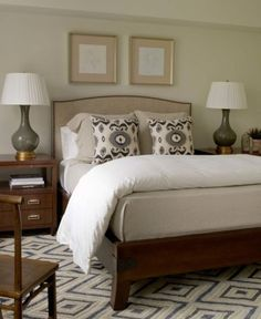 maybe a patterned rug in your bedroom at some point.Suzie: Phoebe Howard - Gray & green sophisticated bedroom design with tan linen camel back bed . Bedroom Green, Home Bedroom, Bedroom Decor, Pretty Bedroom, Bedroom Ideas, Bedroom Romantic, Bedroom Simple, Upstairs Bedroom, Bedroom Lamps