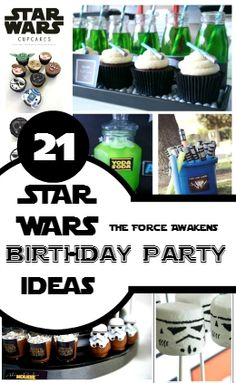 21 Simple super effective Star Wars Birthday Party Ideas to awaken the force at your party. DIY ideas include Invites, Cakes, Games for your Budding Jedi.