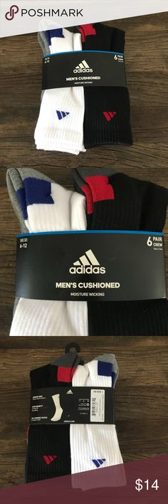 Adidas Cushioned Moisture Wicking Crew Sock 6 Pack Brand new with tag, never been worn Adidas Men's Cushioned Moisture Wicking Crew Socks 6 pairs Black White Large 6-12 adidas Underwear & Socks Athletic Socks