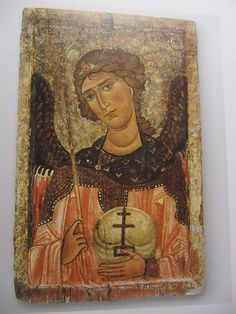 Cyprus exhibition, Louvre, Icon of St Michael the Archangel, private collection Religious Images, Religious Icons, Religious Art, Spiritual Images, Byzantine Icons, Byzantine Art, Images Of Mary, Kunst Online, Russian Icons