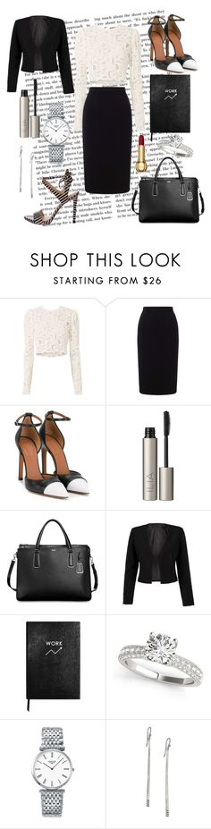 """""""Black and white business-woman 📂"""" by margaux-frenoy ❤ liked on Polyvore featuring A.L.C., Roland Mouret, Givenchy, Ilia, Tumi, WithChic, Sloane Stationery, Longines and Ippolita"""