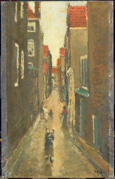 Buurtje in de Amsterdamse Jordaan.  Breitner, George Hendrik    Verv.jaar: 1923