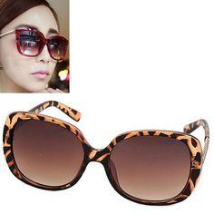 Skeleton leopard color big frame simple design resin Women Sunglasses www.asujewelry.com