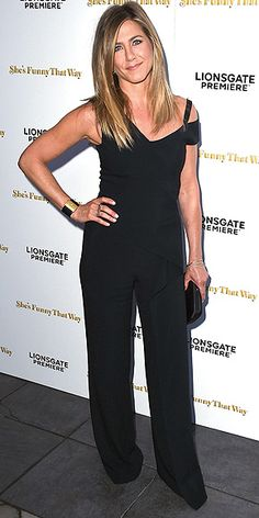 Last Night's Look: Love It or Leave It? Vote Now! | JENNIFER ANISTON | in a Roland Mouret black jumpsuit (for her first red carpet appearance post-honeymoon!) at the premiere of She's Funny That Way in L.A.