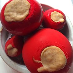 Peanut butter and banana frozen Kong treats for you dog friends.