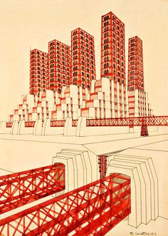 MARIO CHIATTONE. Arquitectura futurista.  Bridge and study of volumes. 1914.