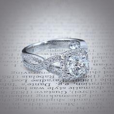 GOLDEN SUN JEWELRY: Diamond twist engagement ringt with a diamond halo surrounding the Round Brilliant cut diamond. #wedding #engagement #engagementring #ring #theknot #proposal #stunning #diamond #designer #diamondring #fashion #flawless #fashionista #gia #gold #jewelry #lavish #luxury #carat #bridal #bling